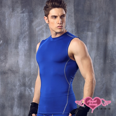 運動背心 活力型男 彈性貼身運動上衣(深藍M~XL)AngelHoney天使霓裳