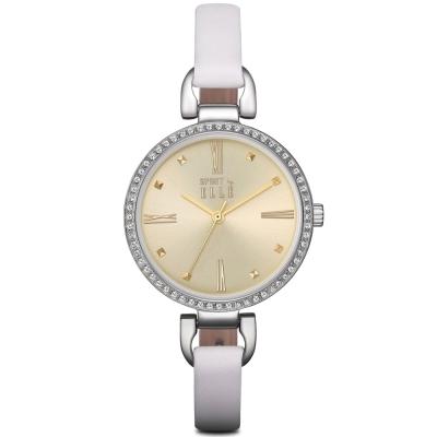 ELLE 小清新羅馬時標晶鑽皮革腕錶-白色/銀色-32mm