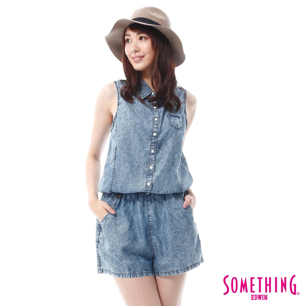 SOMETHING 天絲®無袖連身短褲-女-重漂藍