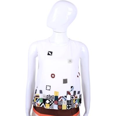 MSGM 白色不規則串珠飾無袖上衣