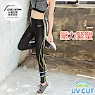 MIT抗UV修身減壓運動壓力褲/瑜伽褲.1色-OB大尺碼