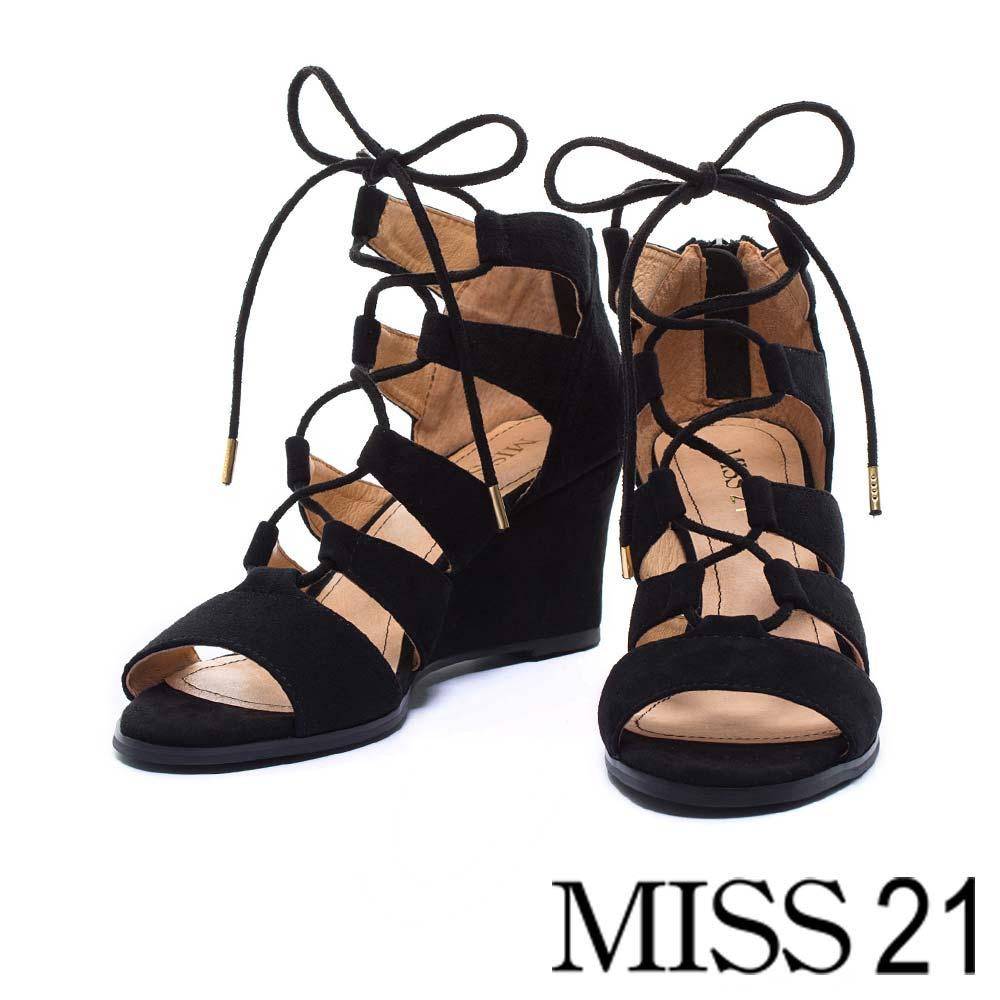 楔型鞋MISS 21都會嬉皮繫帶羅馬楔型鞋-黑