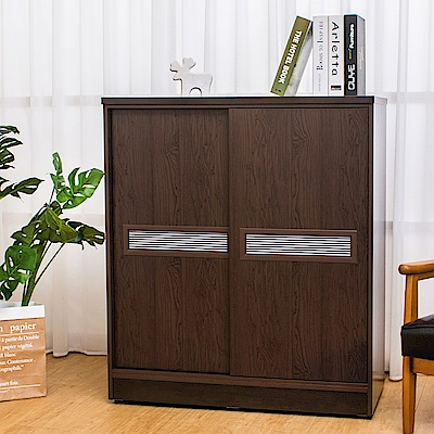 Birdie南亞塑鋼-3尺雙拉門線條紋橫飾條塑鋼鞋櫃(胡桃色)-90x41x104cm