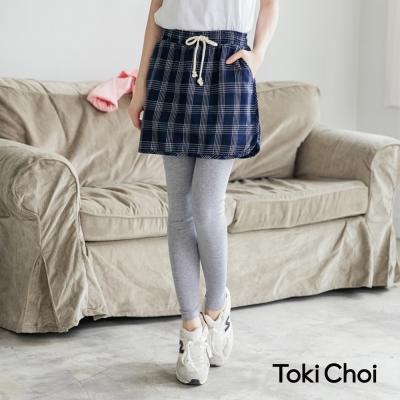 東京著衣 假兩件式格紋裙抽繩內搭褲-S.M(共二色)