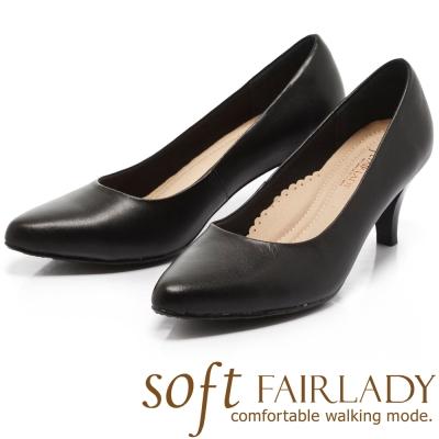 Fair Lady New超級上班者聯盟2號 歐美風尖頭高跟鞋 黑