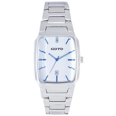 GOTO Laconic時尚腕錶-白x藍/28mm