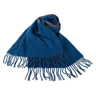 agnes b. 小b.系列流蘇圍巾披肩-灰/藍