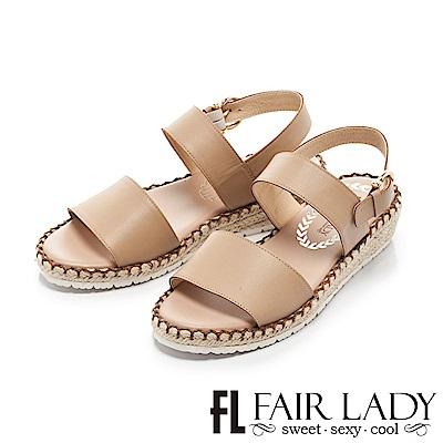 Fair Lady 悠活一字寬版草編楔型涼鞋 棕