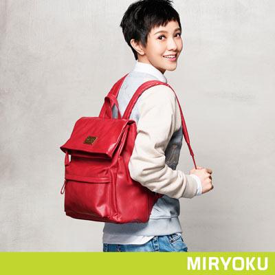 MIRYOKU-清新簡約系列-三夾層折蓋後揹包-紅