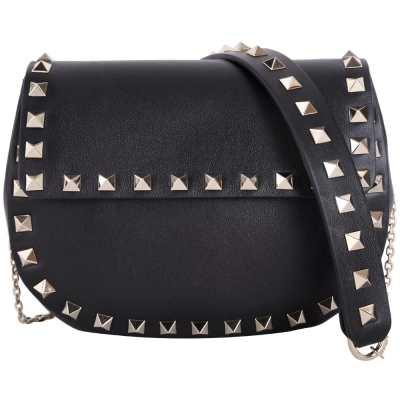 VALENTINO Bolso Mujer 鉚釘滾邊皮革肩背鍊帶包(Mini/黑色)