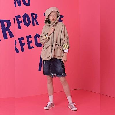 gozo 反折條紋造型短版連帽風衣外套(二色)