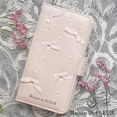 Maison de FLEUR 甜美珍珠配飾蝴蝶結緞帶手機殼