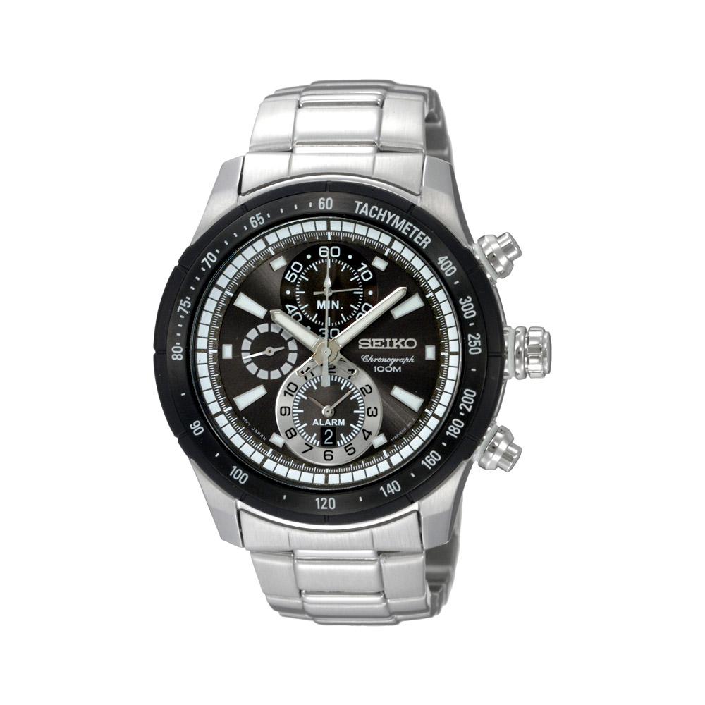 SEIKO 競速追擊者百米計時鬧鈴錶(SNAC89J1)-灰黑/40mm