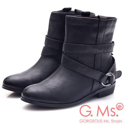 G.Ms. 2WAY活動式皮帶釦環工程短靴-黑色