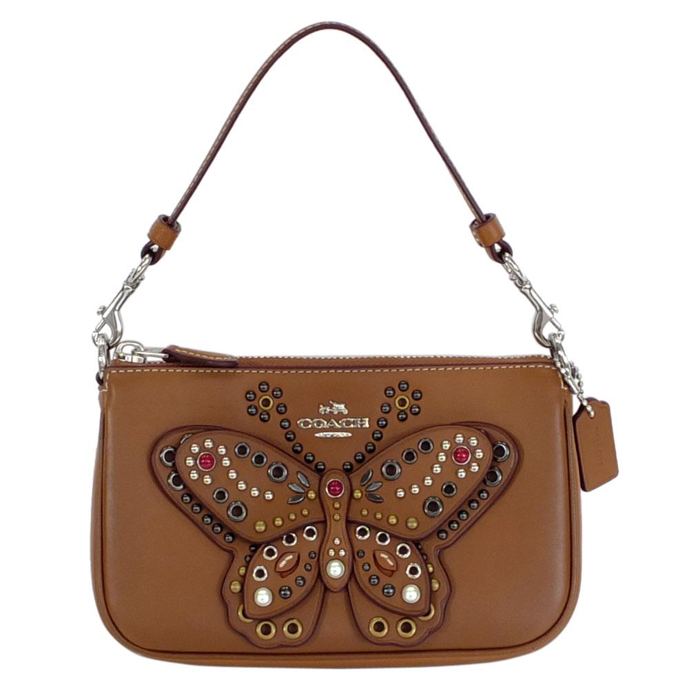 COACH摩卡全皮珠飾大蝴蝶手提掛小包