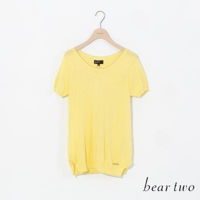 beartwo繽紛色系金屬小LOGO短袖針織衫-三