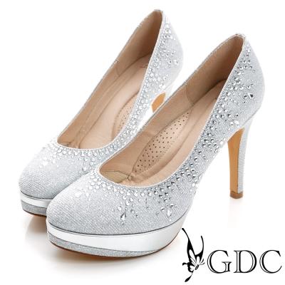 GDC幸福-色彩水鑽防水台真皮高跟鞋(婚鞋)-銀色
