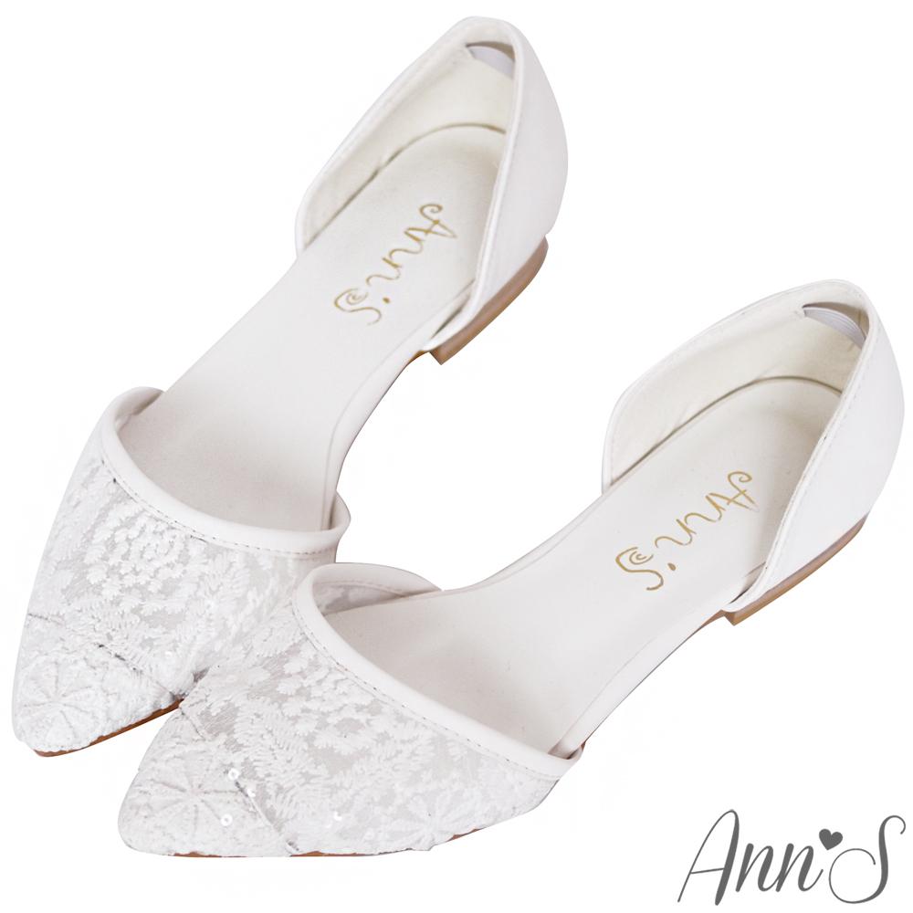 Ann'S甜美蕾絲簍空尖頭平底鞋-白