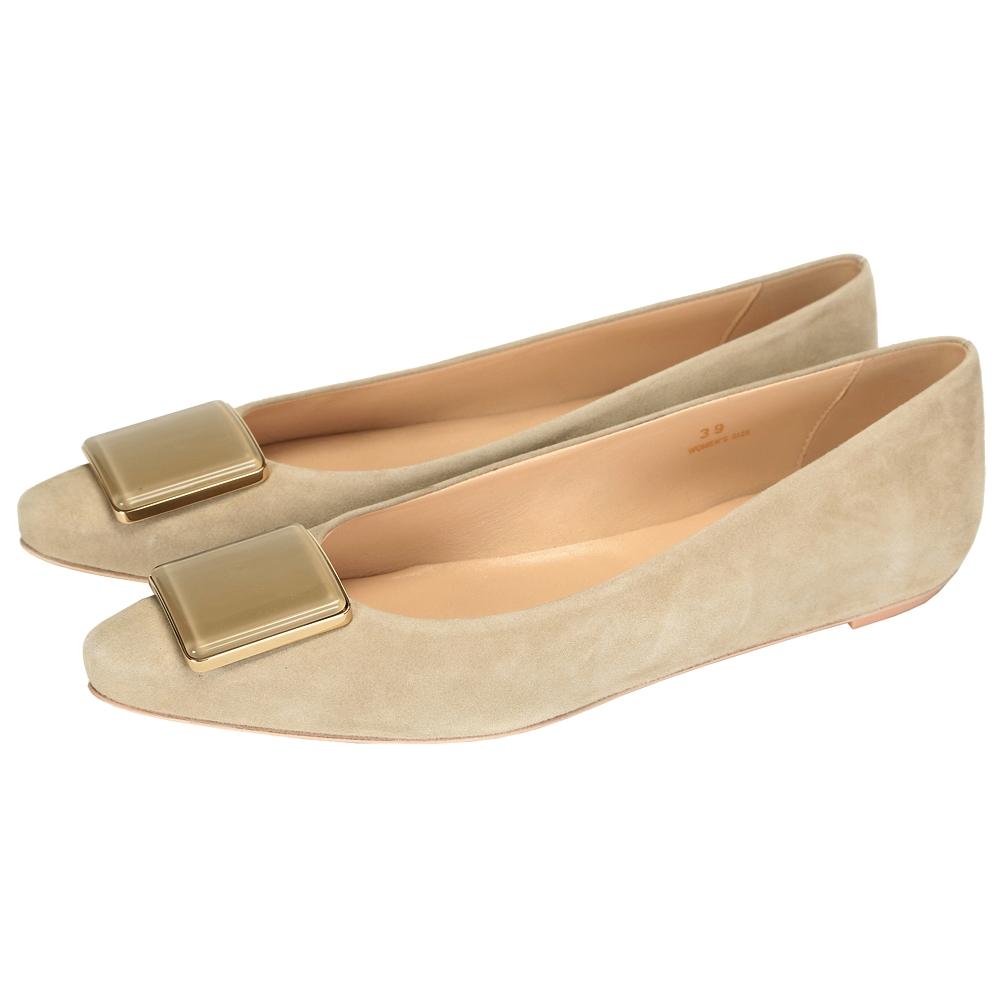 TOD'S 方塊麂皮尖頭平底鞋(淺灰色)