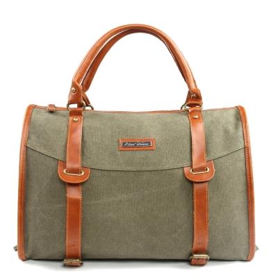 韓式作風-英倫金屬釦環皮革拼接手提包-綠色