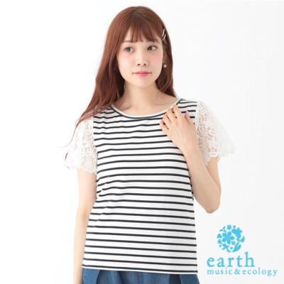 earth-music-ecology-素色花朵蕾絲袖拼接上衣