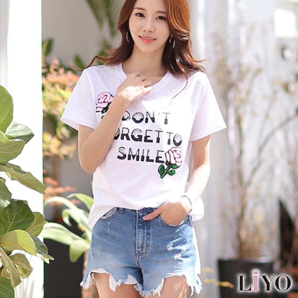 上衣玫瑰英文印花釘珠寬鬆休閒圓領白T恤LIYO理優 S-XL
