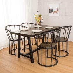 微量元素 手感工業風原木餐桌椅組/一桌四椅-寬140X深80X高75公分