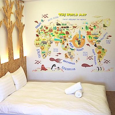時尚壁貼 - 世界插畫地圖
