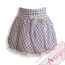 輕盈格紋蕾絲花苞短裙*紫