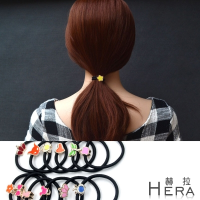 Hera 赫拉 彩色法瑯金屬造型髮圈/髮束-10入組(不挑款)