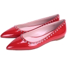 miu miu 鉚釘綴飾漆皮尖頭平底鞋(紅色)