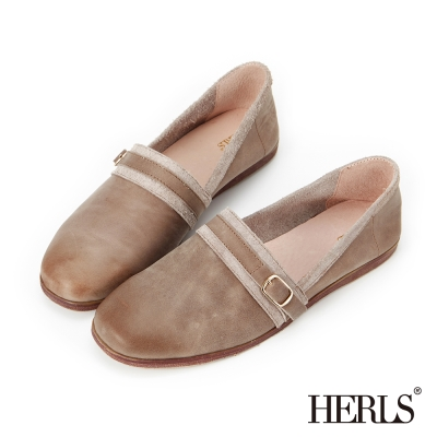 HERLS 全真皮 單釦配色滾邊懶人樂福鞋-淺灰