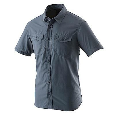【Wildland 荒野】男排汗抗UV短袖襯衫藍灰