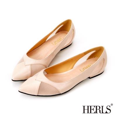 HERLS 氣質裸妝感微透膚平底鞋-粉色
