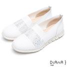 DIANA 漫步雲端焦糖美人款--閃耀晶鑽針織輕量厚底休閒鞋 –白