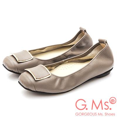 G.Ms. MIT系列-方頭飾釦牛皮娃娃鞋-可可灰