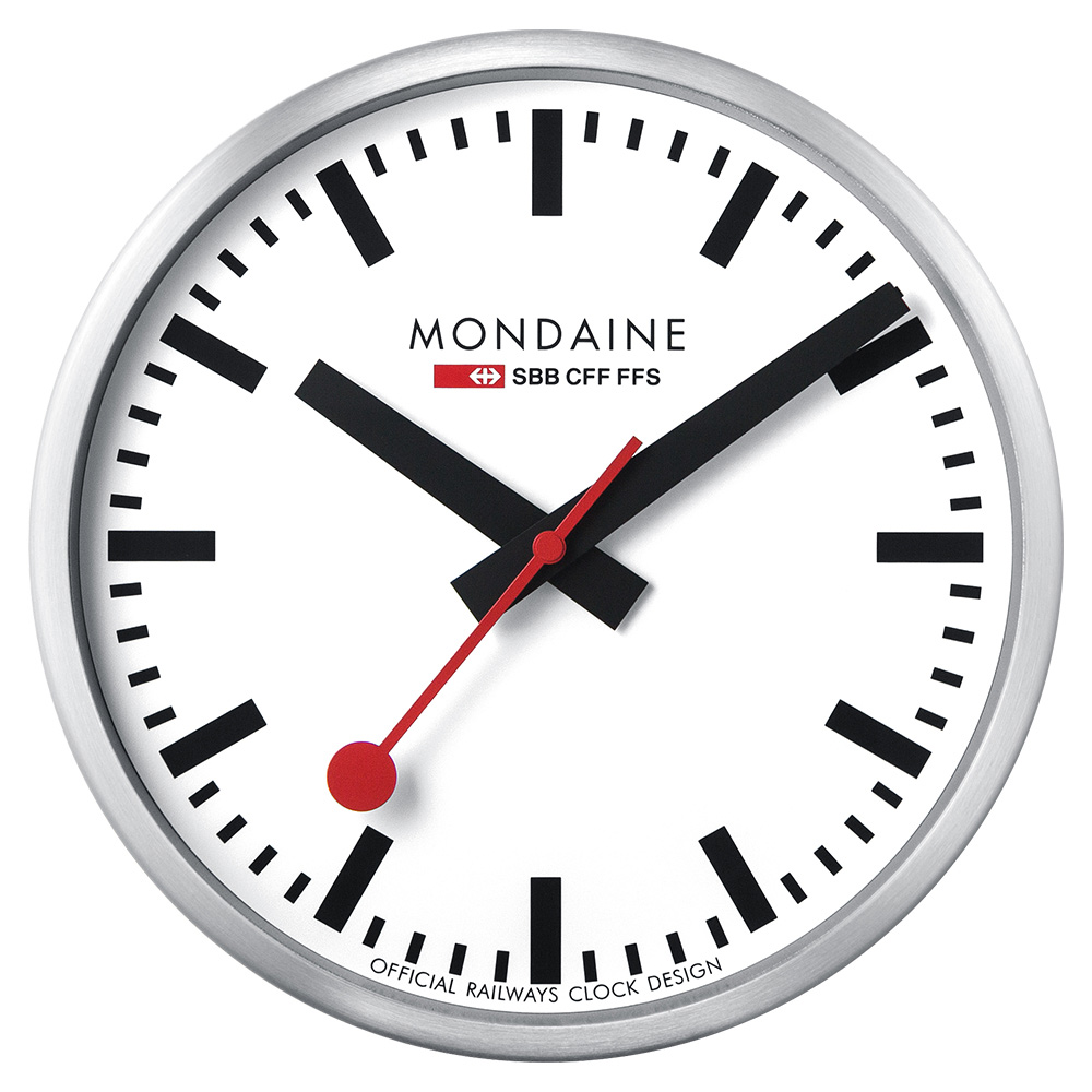 MONDAINE 瑞士國鐵Smart Stop2go智能時鐘-25cm/銀