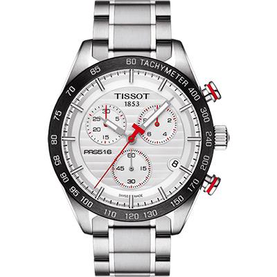 TISSOT 天梭 PRS516 三眼計時石英腕錶-銀x黑框/42mm
