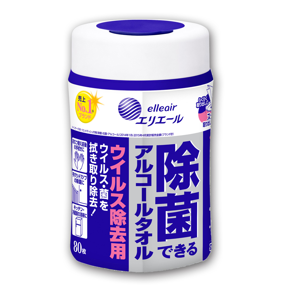 日本大王elleair抗菌濕紙巾(加強版) 80抽