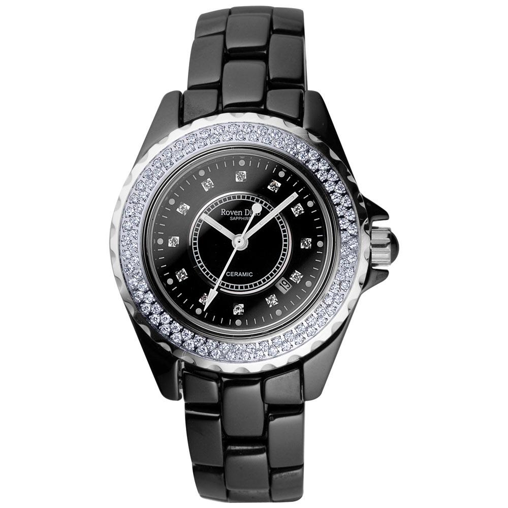Roven Dino羅梵迪諾 名家品味晶鑽陶瓷腕錶-黑/小/35mm