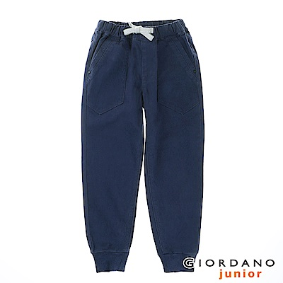 GIORDANO 童裝質感休閒時尚束口褲 - 65 暮色藍