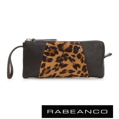 RABEANCO-率性牛皮動物豹紋設計手拿包-黑