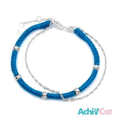 AchiCat 蠶絲蠟繩手鍊 925純銀 五福臨門(藍色)