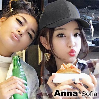 AnnaSofia-簡約單色布質-棒球帽嘻哈帽街舞