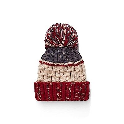 CACO-撞色混針織毛球帽(四色)-女【NCH181】