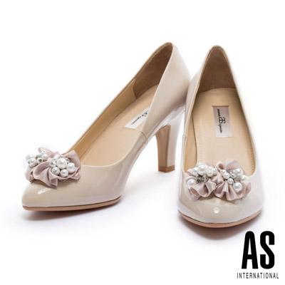 高跟鞋 AS 珍珠緞花全真皮尖頭高跟鞋-米