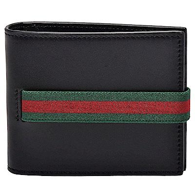 GUCCI 品牌綠紅綠鬆緊織帶牛皮短夾(黑-12卡)