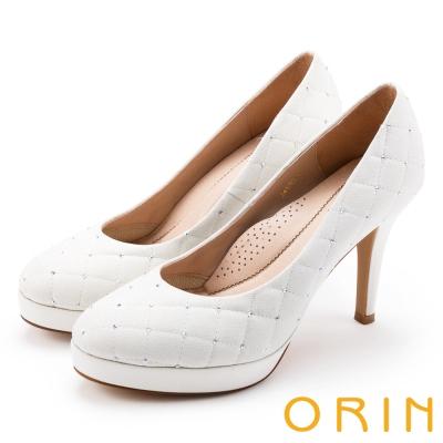 ORIN 晚宴婚嫁首選 燙鑽+耀眼格紋縫線蔥布高跟鞋-白色