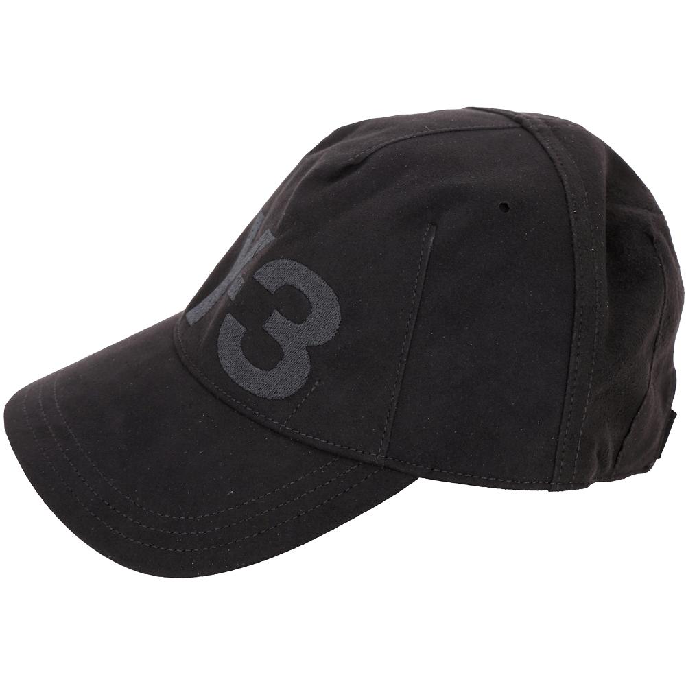 Y-3 UNCONSTRUCTED CAP 刺繡LOGO裁片麂皮棒球帽(黑色)