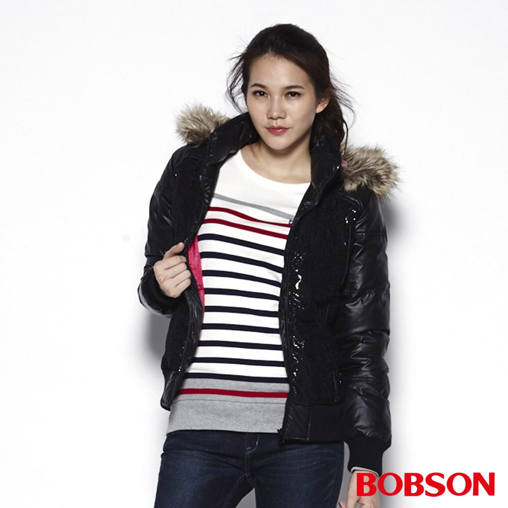 BOBSON 女款蕾絲貼合羽毛外套